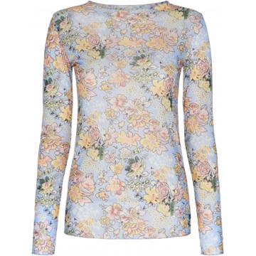 ThreeM Mesh blouse Flower Print
